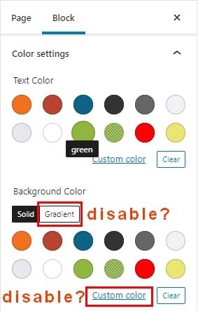 Palette de couleurs Gutenberg